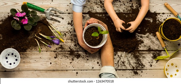 Love nature concept. The family works together. Family business. Ecology and environment. A child with parents plant flowers in pots. Together. Heart of soil. Plant flower shop. Sweet home