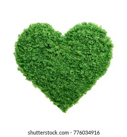 Love nature concept. Grass growing in the shape of a heart. We need to protect the environment and reconnect with nature.