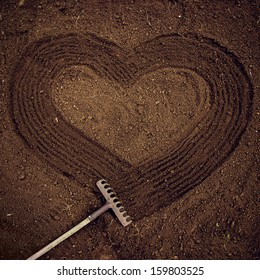 Love of nature.  Heart-shaped path on the ground.