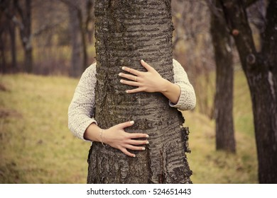Love nature .Tree hugging