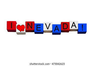I Love Nevada - sign series for American states, Carson, Las Vegas & USA travel - design / banner / word - in national flag colors - isolated on white background.