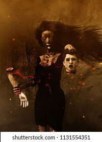 Love never dead,3d illustration of Ghost woman with head of her lover,Scary background mixed media