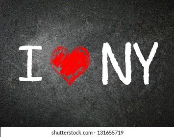 I love New York, written by a teacher on a blackboard.