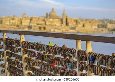 Love padlocks (also known as love locks or wish locks) at Tigne Point, Sliema, Malta