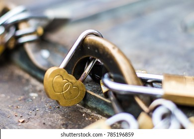 Love padlocks. European custom of love demonstration between couples of lovers of any sexual orientation