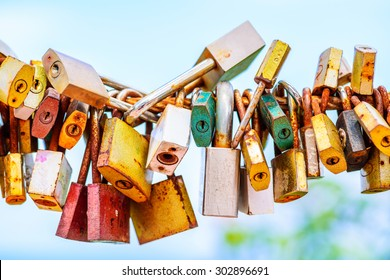 A lot of love padlocks on the bridge.