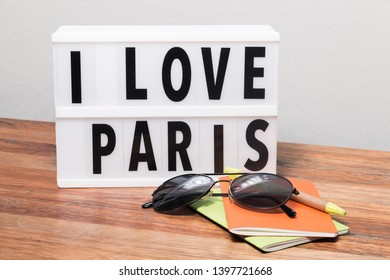 I love Paris text in light box cinema