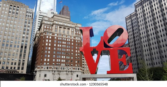 Love Park among high-rise buildings with blue sky of Philly, Philadelphia, PA on 27 September,2018