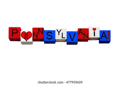 I Love Pennsylvania - series for American states, Harrisburg, Pittsburgh, Philadelphia, USA - The Keystone State - design / banner / word - in national flag colors - isolated on white background.