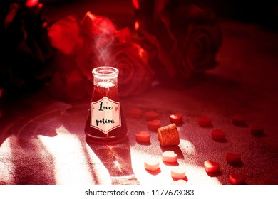 Love potion bottle, concept for dating, romance and valentine's day.