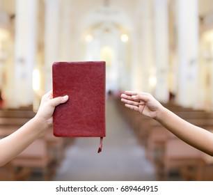 Love to pray church bokeh blur background. Religion concept background.