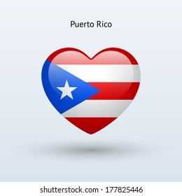 Love Puerto Rico symbol. Heart flag icon. See also vector version.