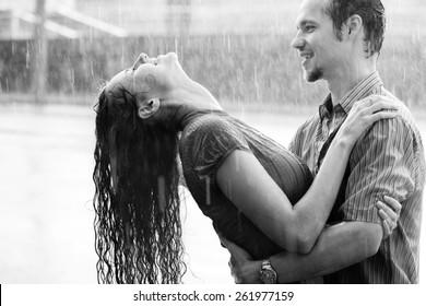 Love Rain Boy Girl Kissing Hugging Stock Photo Edit Now 261977159