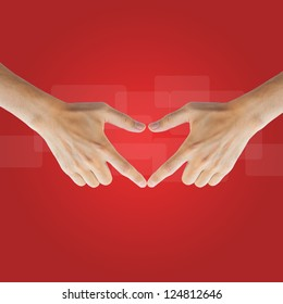 Love real hand on red background