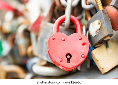 Love red romance lock on the bridge