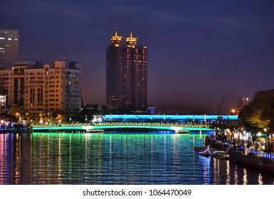 The Love River in downtown Kaohsiung in Taiwan at evening time