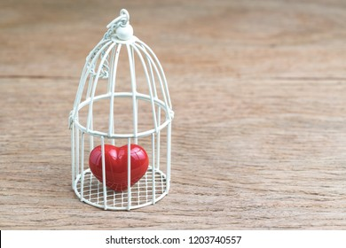 Love, romance or anchoring in the past concept, closed up of red heart inside the miniature birdcage, can be used as no freedom for relationship with copy space.