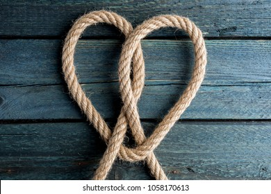 Love rope. Heart rope knot