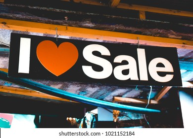 love sale sign in a shop