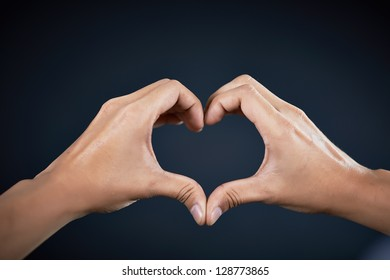 love shape hand by Handsome man