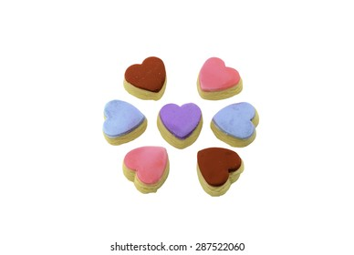 love shape multi colors butter cookies on white background