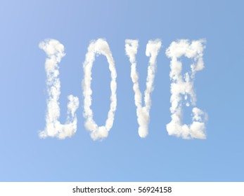Love sign formed from clouds