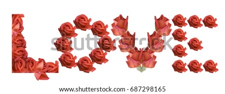 Love Sign Rose Flowers Valentines Mothers Stock Photo Edit Now