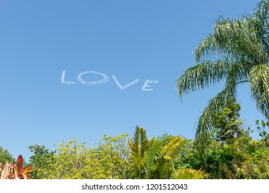 Love in the sky done by an airplane with blue sky