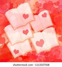 Love stories, opende books with romantic hearts