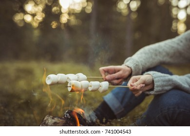Love story. Couple in forest cooking sweet marshmallows on bonfire