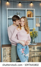 Love story of a lovely couple in loft interior