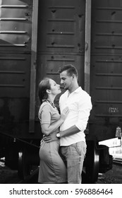 Love story, models, love, couple in love. Black and white photo. Happy