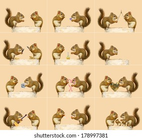 The love story of two little squirrels. A sequence of humorous events, ending with them starting a family.  Each full sized image is available in my portfolio (some are without the hair bow).