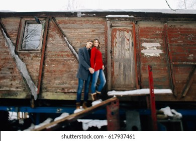 Love story young couple in winter. Romantic relationship,love and kisses