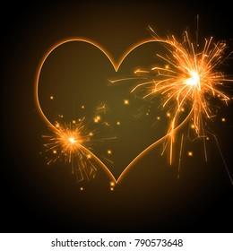 love symbol burning heart shape