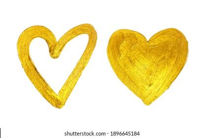 Love symbol. Luxurious golden hearts for Valentine's Day card. Beautiful textured golden heart on a white background. Gold paint strokes.