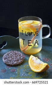 I love tea cup, with cookie, on painted tray