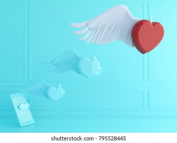 Love and technology concept . Cupid , red heart and smart phone.Valentines day.3d rendering. 3d illustration.minimal style