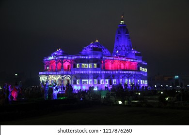 Love Temple - Prem Mandir Night View, divine monument, at Vrindavan, Mathura, Uttar Pradesh / India - October 28 2018: The complex is on a 54-acre site on the outskirts of Vrindavan,