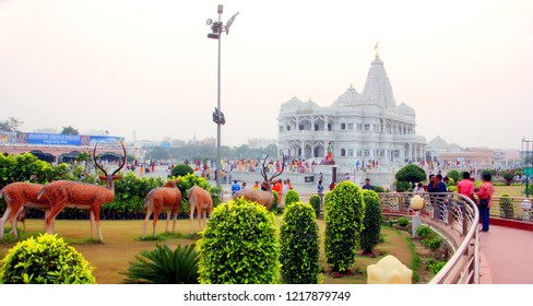 Love Temple - Prem Mandir View, divine monument, at Vrindavan, Mathura, Uttar Pradesh / India - October 28 2018: The complex is on a 54-acre site on the outskirts of Vrindavan,
