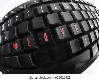 Love text on black keyboard