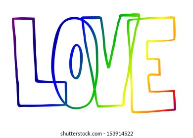 love text in rainbow colors