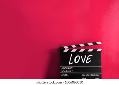 love text title on clapper board