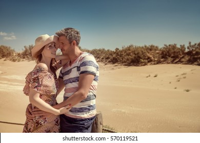 love travel couple in the dunes