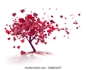 love tree with flying hearts