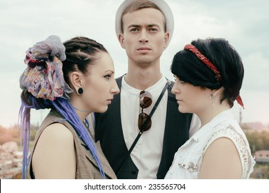 love triangle the young guy before a choice in resistance of two girls