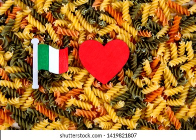 I Love... Tricolore Italian fusilli pasta - love for cuisine and cooking from Italy - with Italian flag icon and tricolor pasta background design.