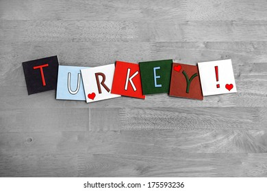 Love Turkey, sign series for meats, cooking and Christmas dinner, with heart symbols.