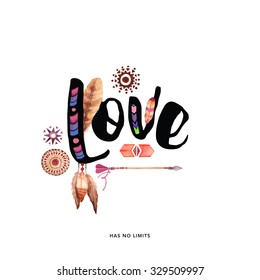 Love typography hand drawn with ethnic elements ( Valentine's day love card)