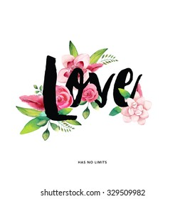 Love typography hand drawn with flowers ( Valentine's day love card)